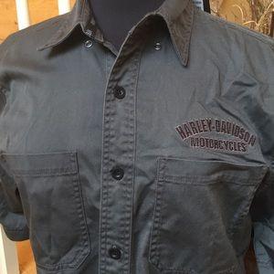 NWT Harley Davidson Grey Embroidered SS Shirt AM
